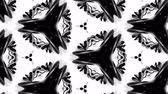 4k seamless looped animation of black and white pattern with ribbons are twisted and formed complex structures like symmetric ornament pattern or kaleidoscopic effect