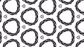 4k seamless looped animation of black and white pattern with ribbons are twisted and formed complex circular structures like symmetric ornament pattern or kaleidoscopic