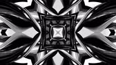 4k seamless looped animation of black and white pattern with ribbons are twisted and formed complex circular structures as symmetric ornament pattern or kaleidoscopic in motion.