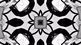 4k seamless looped animation of black and white star pattern with ribbons are twisted and formed complex circular structures as symmetric ornament pattern or kaleidoscope in motion. Stock mozgókép
