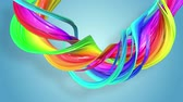 Fantastic beautiful ribbons of rainbow color twisted and bent, colorful creative background with soft smooth animation of lines and color gradients in 4k. Stock mozgókép