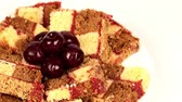 christmas dish : of cake with cherries Stock Footage