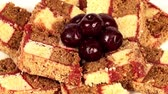 indulgence : of cake with cherries Stock Footage