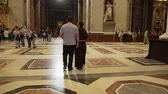 pope : ROME- APRIL 2018: Interior of St. Peters Basilica, Vatican, Italy dolly shot
