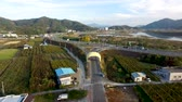 körte : Aerial View of Pear Farm Street in Hadong, Gyeongnam, South Korea, Asia