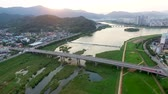 Aerial View of Miryang River, Gyeongnam, South Korea, Asia Wideo