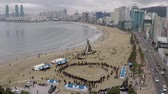 plage : JeongwolDaeboruem the Lunar New Years Eve event in Gwangalli Beach, Busan, South Korea, Asia Vidéos Libres De Droits
