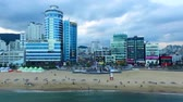 Aerial View of Cloudy Gwangalli Beach, Gwangalli. Busan, South Korea, Asia Wideo