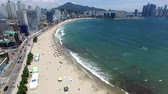 napernyő : Aeril View of Sunny Summer Gwangalli Beach, Busan, South Korea, Asia..