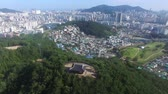 гробницы : Aerial View of Bukjangdae in Dongrae Eupseong Traditional Fortress, Busan, South Korea, Asia.
