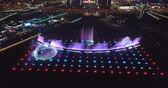 despir : Drone view of colorful musical fountains at night