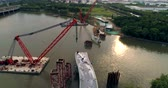jib : Aerial view of floating crane, pedestrian bridge construction