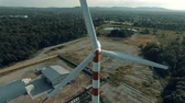 Aerial view of windmill in countryside,wind energy turbine, alternative renewable energy production