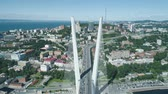 pylon : Aerial drone view of The Zolotoy Golden Bridge. Cable-stayed bridge across the Zolotoy Rog (Golden Horn) in Vladivostok, Russia Stock Footage