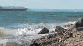 The waves crashing against the rock on the sea shore, cargo ship on the background Vidéos Libres De Droits
