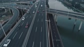 lucht : Aerial top view of highway interchange. Aerial top view of road junction from above, automobile traffic and jam of many cars, useful for engineering, industrial, transportation concept