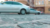 cornering : Cars going quietly in central part of Kyiv, Ukraine, ground shot Stock Footage