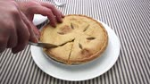 előkészített : Close video of a man cutting a slice of apple pie. Stock mozgókép