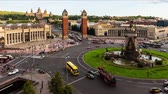 montjuic : Timelapse with aerial view of Placa dEspanya, iconic landmark in Barcelona, ??Catalonia, Spain. Panning shot Stock Footage