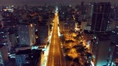 bakış açısı : Aerial view of Sao Paulo city at night, Brazil. Great night fly scene. Fantastic landscape. Business city. Business travel. Business concept.