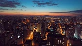 street photography : Aerial view of sunset in Sao Paulo city, Brazil. Great sunset scene. Fantastic landscape. Business city. Business travel. Business concept.