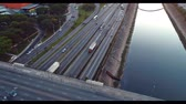 Aerial view of cars, buses and trucks on highway in Sao Paulo city, Brazil. Great traffic scene. Fantastic landscape. Business. Highway, Business place.