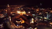 un : Aerial view of the Shrine of Our Lady of Aparecida, Aparecida, S? O Paulo, Brazil. Patroness of Brazil. Church, temple, religion, faith. Night flight. Beautiful landscape. Great church view!