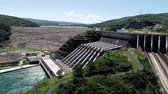 Aerial view of Furnass Hydroelectric, Minas Gerais, Brazil. Energy generation. Furnass dam. Capitolios lagoon. Travel destination. Tropical travel. Tourism point.