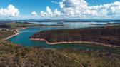 Aerial view of Capitolios Lagoon with beautiful landscape. Capitolio, Minas Gerais, Brazil. Furnass dam. Tropical travel. Travel destination. Vacation travel. Vídeos