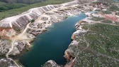 Aerial view of quarry in Capitolio with beatiful landscape, Minas Gerais, Brazil. Furnass dam. Tourism point. Tropical travel. Travel destination.