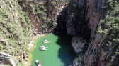 Aerial view of famous Canyons of Capitolios lagoon. Capitolio, Minas Gerais, Brazil. Beauty landscape. Furnass dam. Tropical travel. Travel destination. Vacation travel.