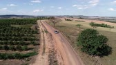 Aerial view of a car in the rural road. Agriculture scenery. Rural scenery. Countryside scenery.