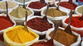 curry : Indian colored spices in the bags at Anjuna flea market in Goa, India