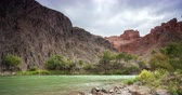 путешествие : Timelapse of moving clouds and river at Charyn canyon in Kazakhstan