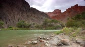 pradaria : River at Charyn canyon at overcast sky background in Kazakhstan