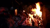 arm : Tasse Tee am Lagerfeuer in der Nacht Stock Footage