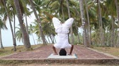 Yoga on the tropical village Stock Footage