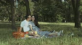 těhotná : Attractive brunette pregnant woman drinking orange juice and talking with her affectionate husband while sitting on picnic blanket in park. Happy pregnant family relaxing in nature on summer picnic.