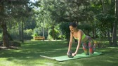 břišní : Active fit woman with ponytail doing fitness workout for abdominal with ab roller on exercise mat in summer park. Pretty female working out, doing exercise for abdominal musles with ab wheel outdoors. Dostupné videozáznamy