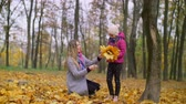 arranjando : Positive attractive mother helping her cute elementary age daughter arranging bouquet of yellow fallen maple leaves while relaxing together in autumn park. Joyful family with kid enjoying fall season.