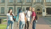čtyři lidé : Positive diverse multi ethnic students leaving university and saying goodbye to each other in campus park. Multinational friends walking along park alley and hugging parting until next day of classes.