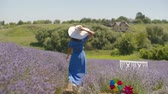 Beautiful healthy woman in trendy dress and sun hat running joyfully through lavender field while enjoying outdoor leisure in countryside. Carefree younng female relaxing on summer vacations in nature Stockvideo