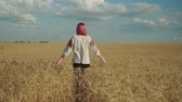 Pretty carefree young woman enjoying freedom and outdoor leisure while taking a walk in wheat field at sunset. Positive female whirling in golden wheat field over beautiful scenic nature in background Stockvideo