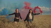 Beautiful multiethnic young women walking with colored smoke bombs across golden wheat field at sunset. Cheerful female friends with red and blue smoke bombs enjoying outdoor leisure in countryside. Stockvideo