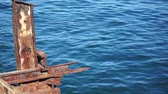 ferrugem : Old Rusty Steel Structure Against Ocean Dolly