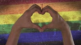 cinsel : Hands Heart Symbol LGBT Flag