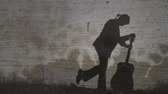 тон : Vintage Silhouette of Girl With Guitar