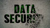 rendszer : Data Security Binary Code Crumbling Wall