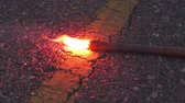 уличный свет : Burning Emergency Road Flare Close Up