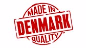 naklejka : Red Rubber Stamp Made In Denmark